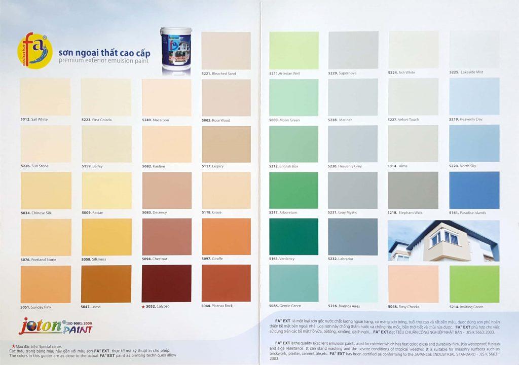 Bảng màu sơn ngoại thất cao cấp Joton FA