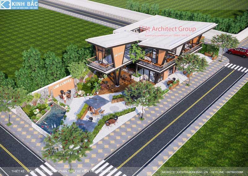Thiết kế quán cafe hiện đại 2 tầng kết cấu khung thép đẳng cấp ở Hưng Yên