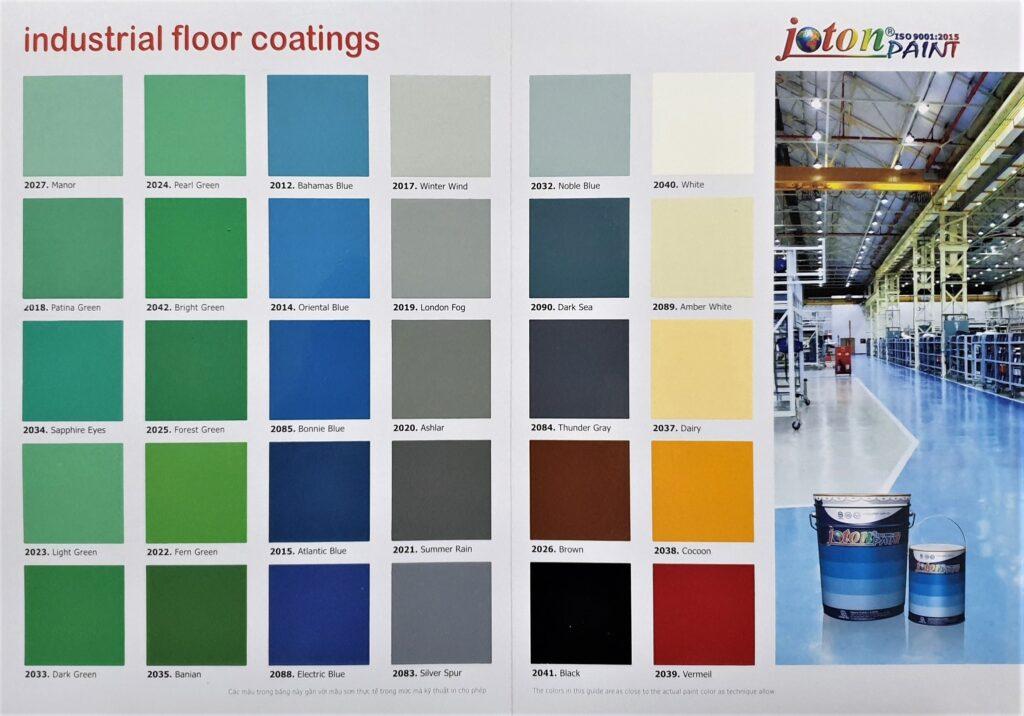 Bảng màu sơn công nghiệp Joton (Hệ sơn Epoxy 2 thành phần)