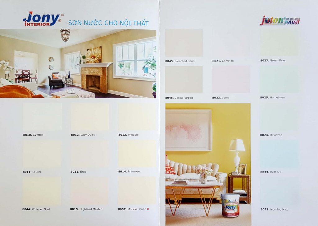Bảng màu sơn nội thất cao cấp Joton Jony