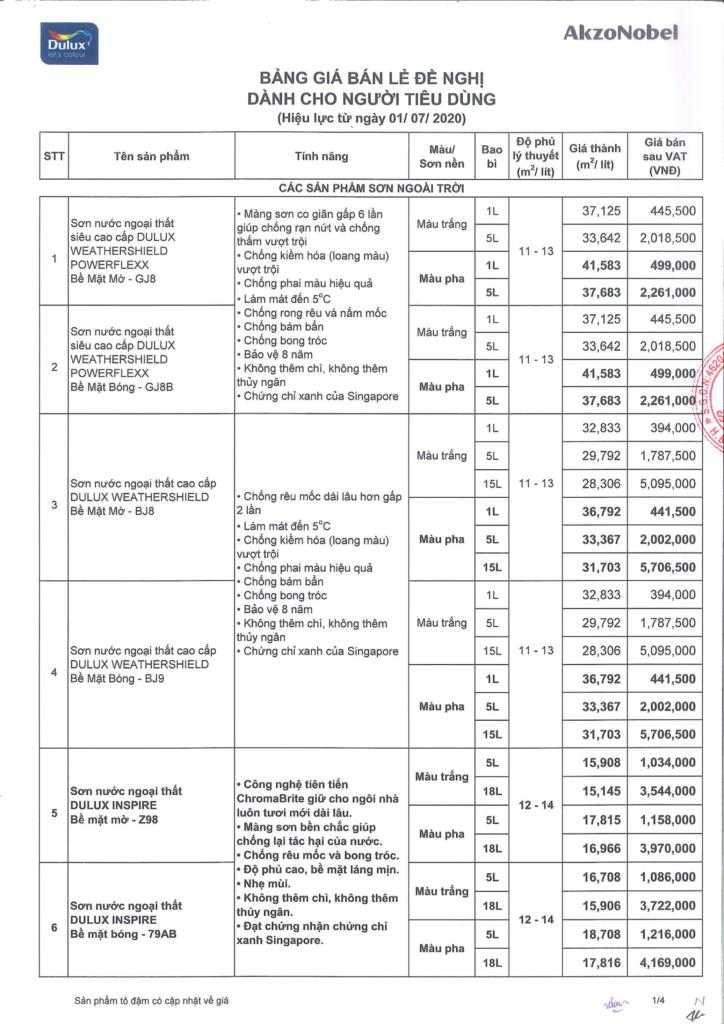 Báo giá sơn Dulux công trình dân dụng tháng 7 năm 2020